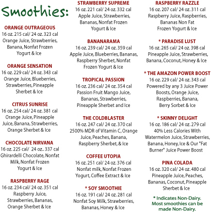 Click Here to view Nutritional Facts for Amazon Cafe Smoothies